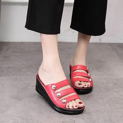 A LadyS Thick Slope and A Cool SlipperSlippers &amp; Flip-Flops<br>A LadyS Thick Slope and A Cool Slipper<br><br>Available Size: 36-40<br>Gender: For Women<br>Heel Type: Wedge Heel<br>Package Contents: 1xShoes(pair)<br>Pattern Type: Others<br>Season: Summer<br>Slipper Type: Outdoor<br>Style: Fashion<br>Upper Material: PU<br>Weight: 1.2600kg