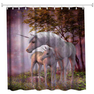 Forest Unicorn Water-Proof Polyester 3D Printing Bathroom Shower Curtain