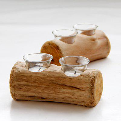 Double Holes Wood Candle Holders Tealight Candlestick