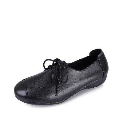 Genuine Leather Women Comfort Round Toe Flat Oxfords Shoes