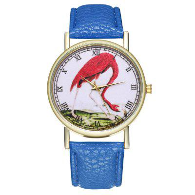 ZhouLianFa T160 Fashion Flamingo Pattern Litchi Quartz Watch