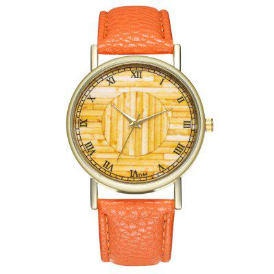 ZhouLianFa T164 Fashion Pure Yellow Pattern Litchi Quartz Watch