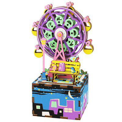 Creative 3D DIY Coloful Wooden Ferris Wheel Music Box Model Best Gift