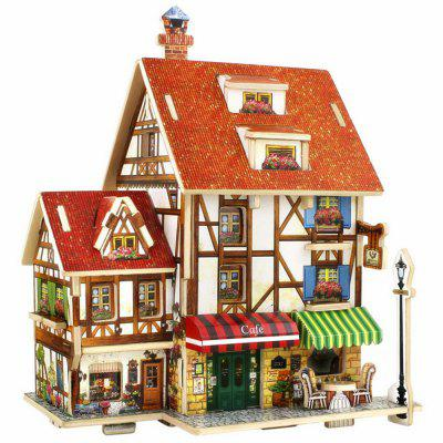 Creative 3D Wood Puzzle DIY Model French Style Coffee House Building Puzzle Toy