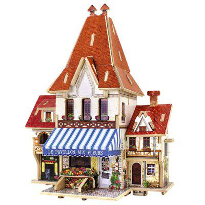 Creative 3D Wood Puzzle DIY Model French Style Flower Shop Building Puzzle Toy