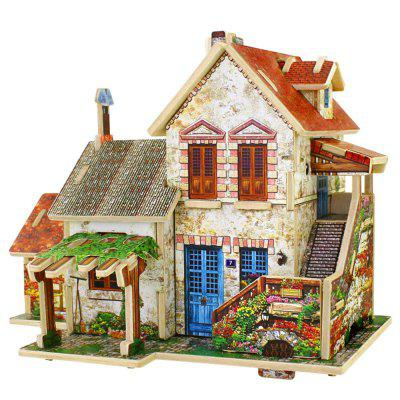 Creative 3D Wood Puzzle DIY Model French Style Farm Building Puzzle Toy