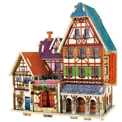 Creative 3D Wood Puzzle DIY Model French Style Hotel Building Puzzle Toy