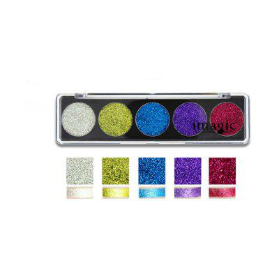 IMAGIC 5 Colors Eyeshadow Palette High Glitter Stage Party Eye Makeup