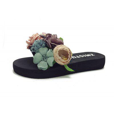Women's Open Toes Flat Slippers Comfy Sweet Flowers Decor Ladylike Slippers