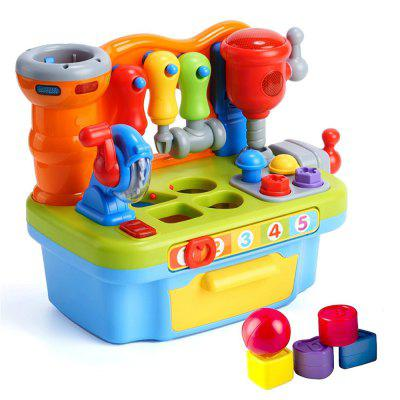 Multifunctional Musical Learning Tool Workbench Toy Set with Engineering Sound E