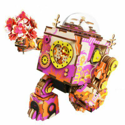 Creative 3D DIY Coloful Wooden Robot  Music Box Model Best Gift