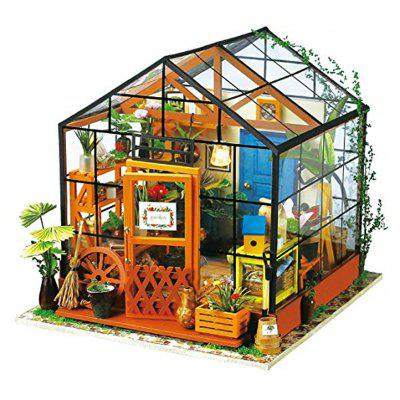 Imagine 3D DIY House Model Kit Greenhouse Miniature LED Light Dolls House Build