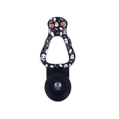 Mobile Phone Lens Fisheye Wide Angle Macro Clip-on LED Fill Light Telefon