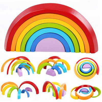 Wooden Rainbow Stacking Game Learning Toy Geometry Building Blocks Educational Gift wooden building block baby gift geometry cognitive matching toy fun block board game toy wooden educational toy for children