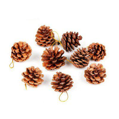 9PCS Christmas Tree Pine Cones Pendants Xmas New Year Holiday Party Decoration