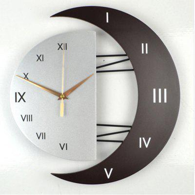 Modern Living Room Decorative Creative Star Moon Style Wooden Board Wall Clock