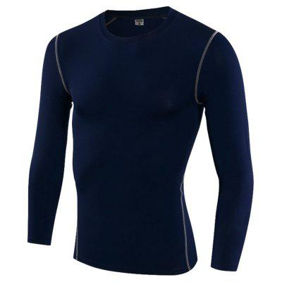 Men Sportswear Tight T-Shirt Fitness Gym Soccer Jerseys Running Long Shirts