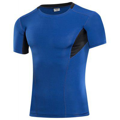 Men Sportswear Fitness Tights Running Training Soccer Jerseys Gym T-Shirt