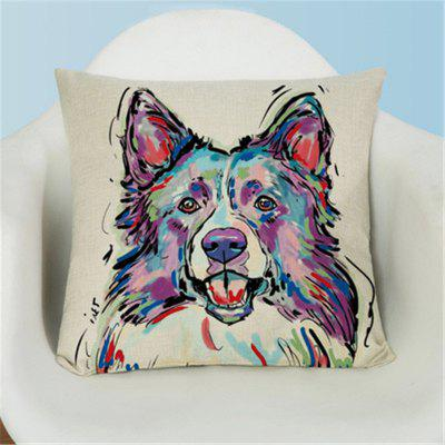 Simple Painted Lovely Dog Flax Pillow Case