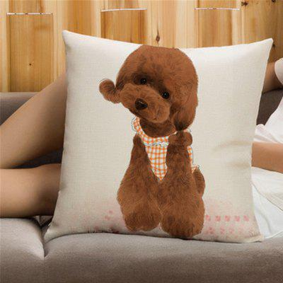 Creative Cute Pet Dog Flax with Pillowcase Home Decoration