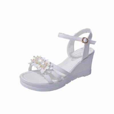 The Slope with All-match Slip Waterproof Word Flower Sandals