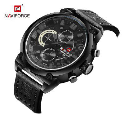 Naviforce Luxury Leather Band Men Sports Wristwatch naviforce nav90252