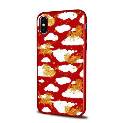 Soft Texture TPU Phone Case for iPhone X Back Cover Golden Horse