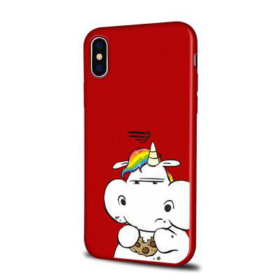 Soft Texture TPU Phone Case for iPhone X Back Cover Unicorn Eating A Biscuit
