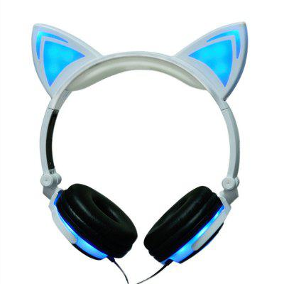 Wired Cat Ear Headphones Foldable LED Light Flashing Glowing Gift for Kids