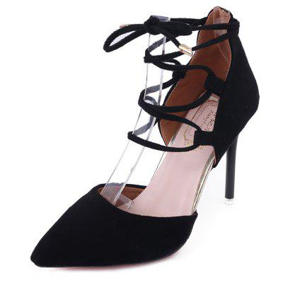 Ladies Suede Ankle Strap Lace-up Pointed Toe Elegance Pump Shoes