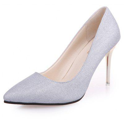 Women Stylish Pointed Toe Slip-on Sequins Stiletto Pumps Shoes