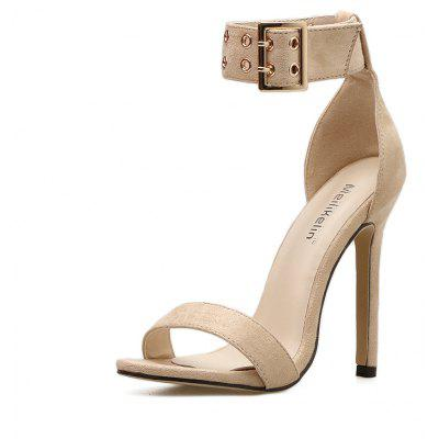 2018 New Rivet High-Heeled Sandals suede Style Women's Shoes