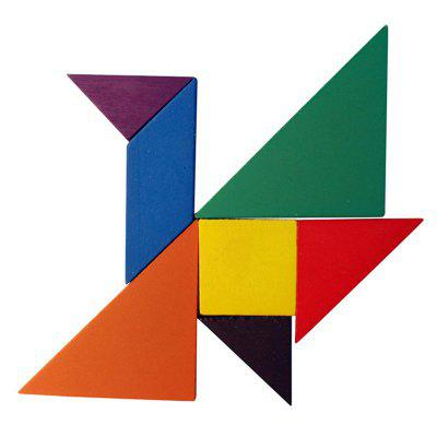 Rainbow Tangram 7 Piece Square Solid Wood Brain Teaser Wooden Puzzle dayan 5 zhanchi 3x3x3 brain teaser magic iq cube
