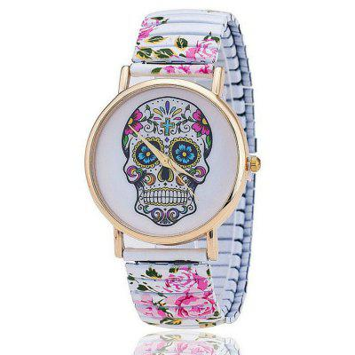 Fashion Flower Printed Spring  Stainless Steel Skull  Women Quartz Watch
