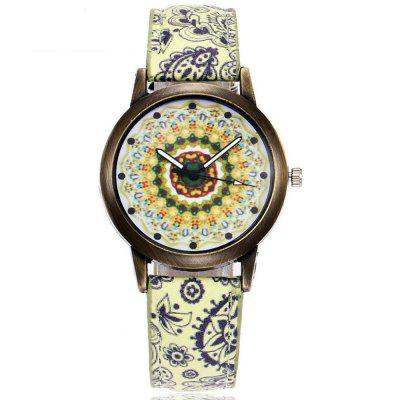 New Women Creative Vintage  Casual Leather Quartz Wristwatch