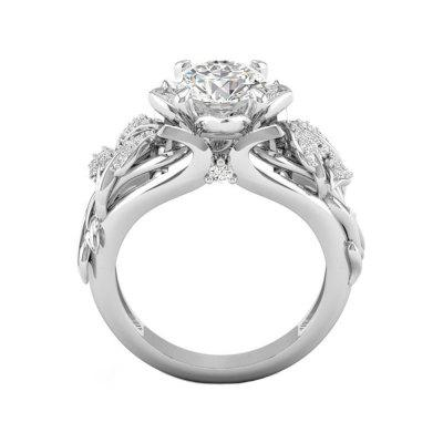 Flower Leaves Diamond Ring