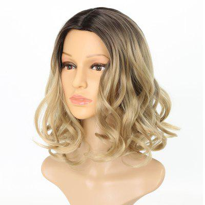 Light Blonde Ombre Fashion Fluffy Wavy Style Short Synthetic Hair Wig for Girls