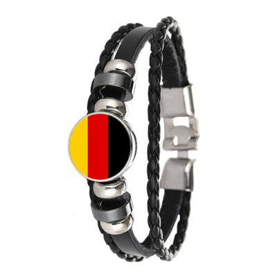 Creative Fashion Braided Leather German Flag Time Gem Football Bracelet
