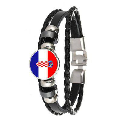 Creative Fashion Knit Leather Croatian Flags Time Gem Football Bracelet