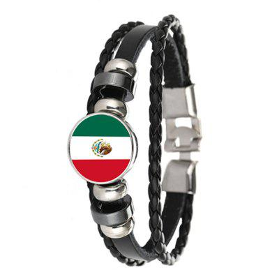 Creative Fashion Knit Leather Mexican Flag Time Gem Football Bracelet