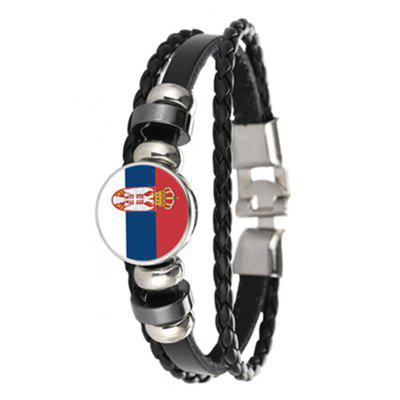 Creative Fashion Woven Leather Serbia Flag Time Gem Football Bracelet