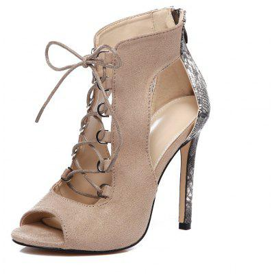 Snake-Grain Suede  High-Heeled Sandals  Fishbill  Female Shoes
