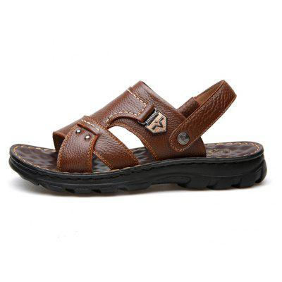 Male Sandals Summer Casual Soft Sport Open Toe Leather Mens Sandals SlippersMens Sandals<br>Male Sandals Summer Casual Soft Sport Open Toe Leather Mens Sandals Slippers<br><br>Available Size: 38 39 40 41 42 43 44<br>Closure Type: Elastic band<br>Embellishment: Metal<br>Gender: For Men<br>Heel Hight: 3CM<br>Occasion: Casual<br>Outsole Material: Rubber<br>Package Contents: 1 x Shoes(pair)<br>Pattern Type: Solid<br>Sandals Style: Slides<br>Style: Sport<br>Upper Material: Full Grain Leather<br>Weight: 1.4784kg