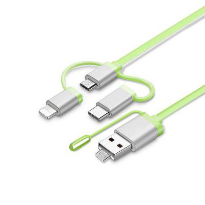 1 M Multi 3 in 1 USB Data Fast Charging Cable for iPhone 6/7 Android Type-C кресло мешок груша пазитифчик желтый 03