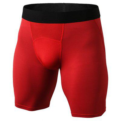 Quickly Dry Gym Sports Trousers Compression Tights Men'S Running Shorts- 2XL RED