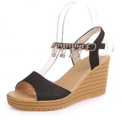 Waterproof Bottom Slope with A Thick Sponge with Rhinestone Sandals