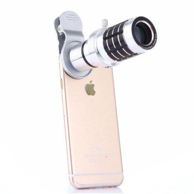 12 X Silver General Mobile Phones Camera External Telephoto Lens Telescope general xl lens bag case for common camera lens