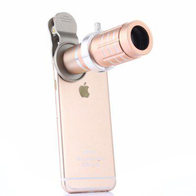 12 X Gold General Mobile Phones Camera External Telephoto Lens Telescope general xl lens bag case for common camera lens