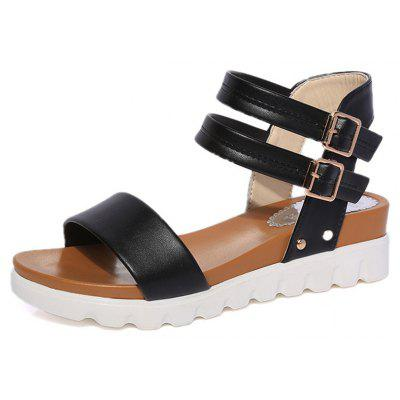 Lady Thick-soled Non-slip Toe sandals Double Ankle Strap Shoes