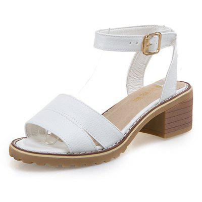 Women Open-toe Thick Low Heel Sandals Summer Ankle Strap Shoes